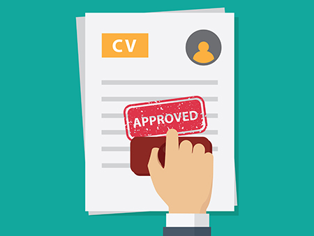 Job application approved,  people hand stamping approved word on